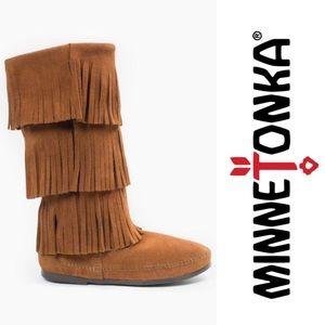 Minnetonka 3 Layer Leather Fringe Boot Brown Sz 7